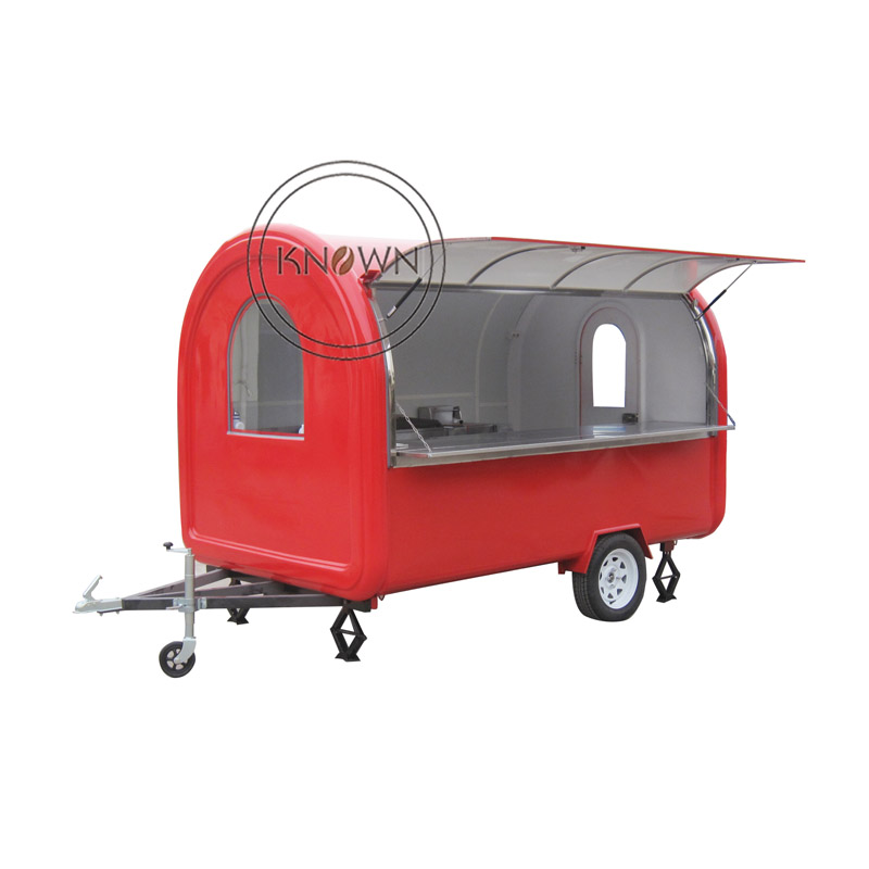 KN-280B Mobile Food Cart Trailer Ice Cream Truck Snack Food Carts for Sale Stainless Steel Table with Free Shipping by Sea