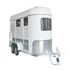 Top quality angle load trailer 2 horses awning white horse float trailer for sale